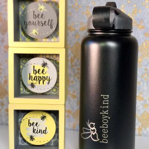 BeeBoyKind: 32 oz. Black Stainless Steel Water Bottle With Straw Flip Lid